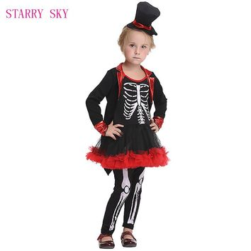 Costumes Girls Skull Halloween Costume With Hat Pants For Kids Stage Dresses Sets Party Long-Sleeve Pirate Cosplay