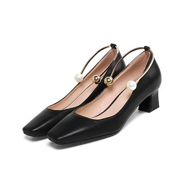 Square Toe Pearls Mid Heel Pumps Shoes 5321