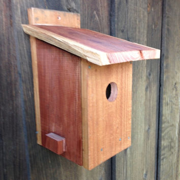 Rustic birdhouse, outdoor birdhouse, primitive birdhouse, redwood, reclaimed wood, bluebird birdhouse, outdoor bird house, garden birdhouse