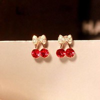 Red Cherry Rhinestone Earrings