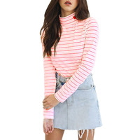 Striped Heart Pink and Red Turtleneck