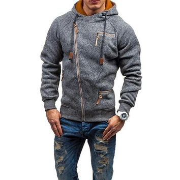 Mens Zipper Hoodie with Faux Leather Details