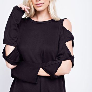 Brushed French Terry Top with Twisted detail on Sleeves - Charcoal
