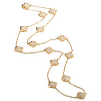 Van Cleef & Arpels Yellow Gold Diamond Pave Alhambra Necklace