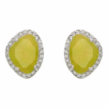 Silver Platinum Plated Olive Jade & Cubic Zirconia Oval Stud Earrings