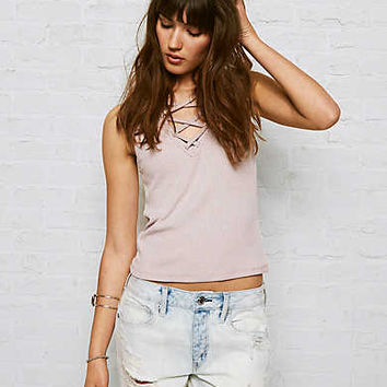 Don't Ask Why Lace-Up Crop Tank, Just Rosey
