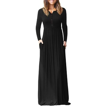Black Long Sleeve Button Down Casual Maxi Dress