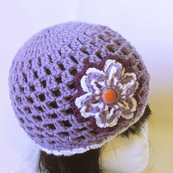 Mommy and me set, mother daughter hats, mommy and baby outfit, matching hats, crochet set gift, flower beanie set, lilac purple, custom set