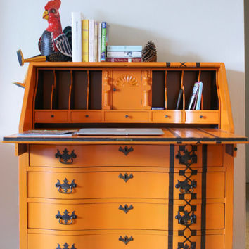 Orange Mahogany Chippendale Drop top secretary desk / dresser