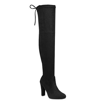 Women's Over Knee High Block Chunky Heel Thigh Heel Faux Suede Boots