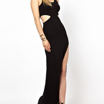 Black Cut Out Thigh Side Split Bodycon Maxi Dress
