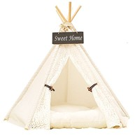 Dog Tent, DEWEL Pet Teepee Dog Cat Play House Portable Washable Pet Bed for Dog Cat Lace Style (Without Cushion)