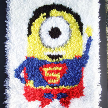 Kids Boys Handmade Superman Superhero Minion rug Latchhook Housewares Rectangular Rug Latch Hook Wall Decor Children Kids Room Decor