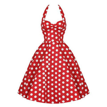 Red And White Vintage Polka Dot Print Ruffled Midi Dress