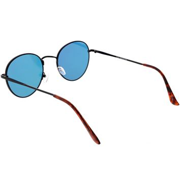 Slim Metal Frame Mirrored Flat Lens Round Sunglasses - Shop Jeen - powered by Hingeto