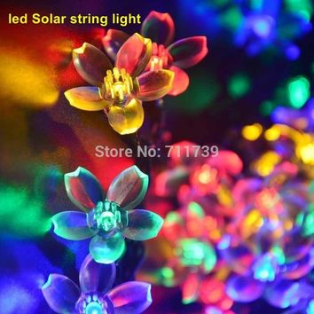 5SET 7M 50 led multicolor Outdoor Solar LED Light String Fairy Christmas Party Solar Garden Lamps