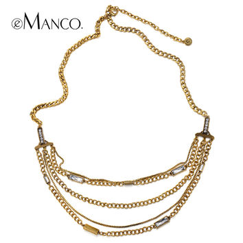 Multilayer metal rhinestone chain Sweater necklace eManco 2014 brand Zinc Alloy fashion LONG necklaces women accessories NL09575