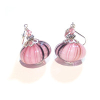 Murano Blown Glass Pink Black Cipollina Dangle Earrings, Italian Jewelry