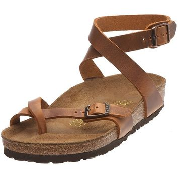 Birkenstock womens Yara in antique brown from Leather Thong 38.0 EU W