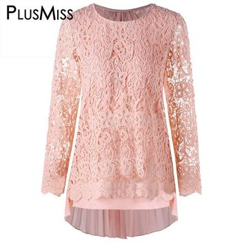 PlusMiss Plus Size 5XL Sexy Pink Pleated Lace Crochet Mini Dress Women Long Sleeve Chiffon Short Party T Shirt Dress 2017 Autumn