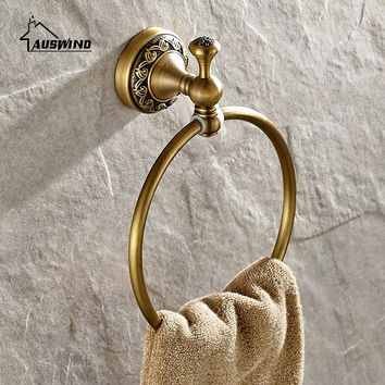 Solid Brass Towel Rings European Plated Towel Racks Coating Art Carved Bathroom Accessories Wall Mounted Set Towel Rack