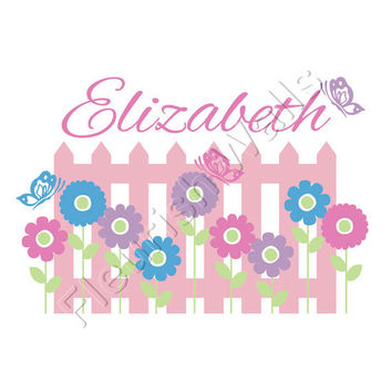 Baby Girl Name With Fence And Flowers Wall Decal For Girls Nursery Or Toddler Bedroom Personalized Vinyl Wall Decor 30H x 45W GN063