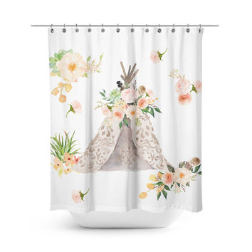 Floral Aztec Teepee Shower Curtain