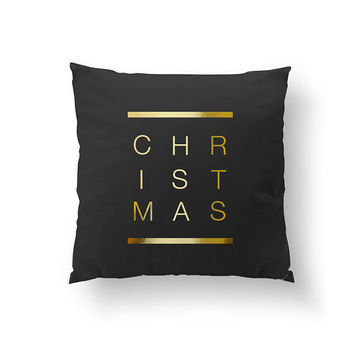 Christmas Pillow, Xmas Gift, Home Decor, Winter Pillow, Cushion Cover, Throw Pillow, Gold Pillow, Christmas Decor, Xmas Pillow, Bed Pillow