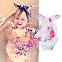 Cute Toddler Floral Jumpsuit Fashion Baby Girl Summer White Bodysuit Infant Flowers Outfits Sunsuit