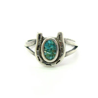 Turquoise Horseshoe Ring. Sterling Silver, Chip Inlay. Seven Nails, Good Luck. Pinky or Young Girl's Ring. Vintage Lucky Equestrian Jewelry