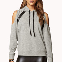 Faux Leather-Trimmed Hoodie