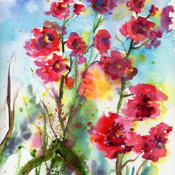 Rose Mallow Small Original Watercolor Painting