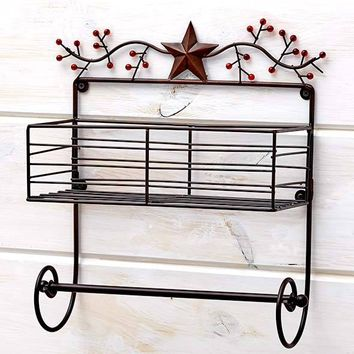 Vintage Wall Mount Paper Towel Holder. Metal Stars & Berries Country Kitchen