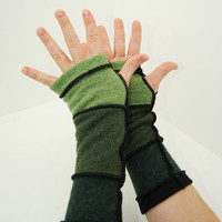 Arm Warmers in Apple Moss and Forest Green  - Recycled Merino Wool