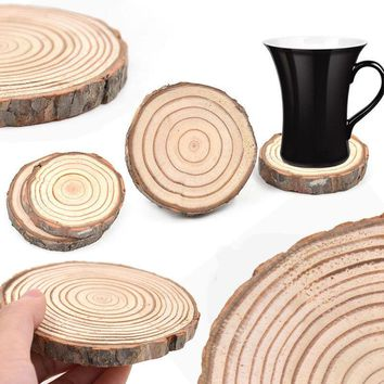 Rustic Natural Wooden Log Slice Cup Mat Coaster Tea Coffee Mug Drinks Round Holder Pine Tree Table Decor Wedding Centerpiece