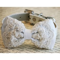 White Lace Dog Bow Tie, Pet wedding, Lace wedding, White Wedding