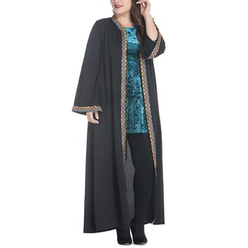 New Arabic Style Chiffon Outer Wear Dubai Kaftan Muslim Gown Middle Eastern Maxi Robe for Women Girls