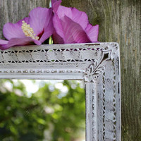 Vintage Ornate Metal Dresser Mirror , Wall mirror , Shabby Chic , Cottage Home . Paris Apartment, Vintage Wedding Decoration