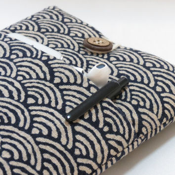"""MacBook Air 11 inch Laptop Case, Surface Pro Case, Windows 8 Touch 11.6"""" Cover Padded with Pocket - Japanese Sashiko waves indigo cotton"""