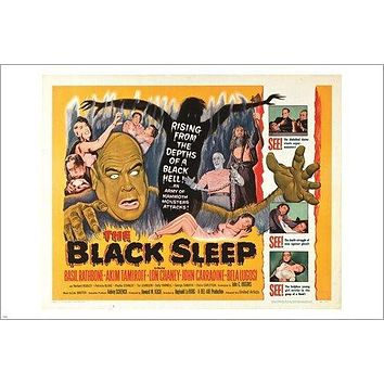 THE BLACK SLEEP vintage movie poster HORROR DECEPTION collectors 24X36 EERIE