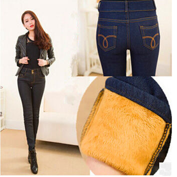 2016 Jeans Women Winter Gold Fleeces Inside Denim Jean Solid Pencil Pants Double Buttons Warm Thickening Pants P8018