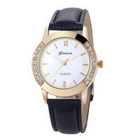 Superior New Fashion Diamond Analog Leather Quartz Wrist Watch for Women July16