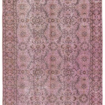 PINK OVER DYED VINTAGE RUG 4'12'' X 8'6'' FT 152 X 258 CM