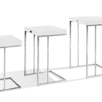A&X Amelia - Modern White Crocodile Lacquer Nesting Table Set