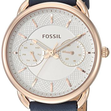 Fossil Tailor Multifunction Navy Leather Watch