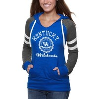 Kentucky Wildcats Ladies Formerly Burnout Pullover V-Neck Hoodie - Royal Blue/Charcoal
