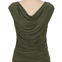 Drape Neck Sleeveless Top - Green