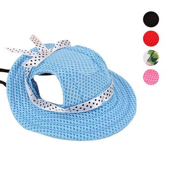2017 Pet Hat With Ear Holes Bowknot Mesh Breathable Dog Sunscreen Casual Baseball Cap Dogs Beach Hiking Pets Products E2S
