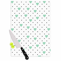 "Project M ""Pin Point Polka Dot Mint"" Green White Cutting Board"