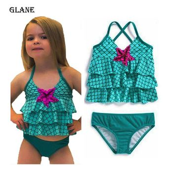 Two-Piece Little Girl Mermaid layered Halter Swimsuits Baby Girls Bikini Suit Swimsuit Swimwear Bathing Swimming Costume Swimmer